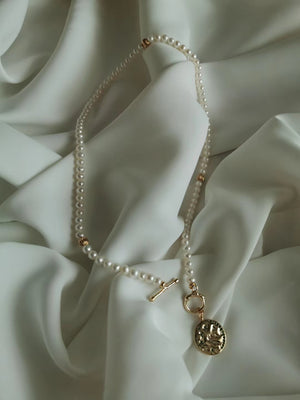 Golden Coin Pearl Necklace
