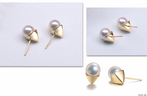 G14K Pyramide Pearl Earrings - Timeless Pearl