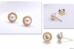G18K Golden Circle Pearl Earrings - Timeless Pearl
