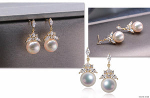 G14K Frozen Triangle Edison Pearl Earrings - Timeless Pearl