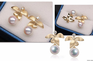 G14K Butterfly Orchid Edison Pearl Earrings - Timeless Pearl