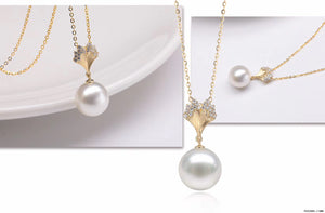 G14K Ginkgo Leaf Edison Pearl Pendant - Timeless Pearl