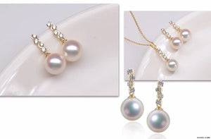 G14K Shining Crystal Edison Pearl Earrings - Timeless Pearl
