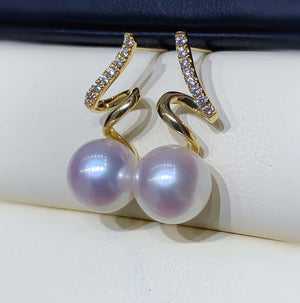 G14K Spiral Edison Pearl Earrings - Timeless Pearl