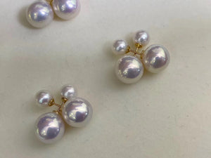 G18K Solid Gold Double Edison Pearls Earrings