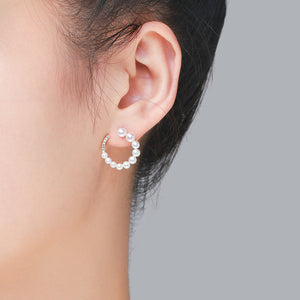 Spiral Circle Pearl Earrings