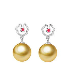 G18k Diamonds Hibiscus Pearl Earrings