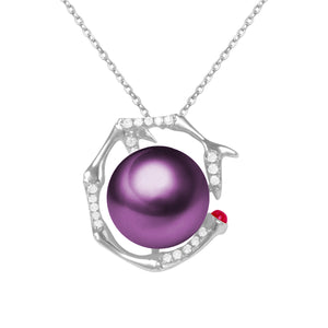 G18k Diamonds & Ruby Abstract Pearl Pendant