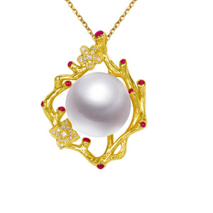 G18k Diamonds Ruby Luxury Floral Pearl Pendant