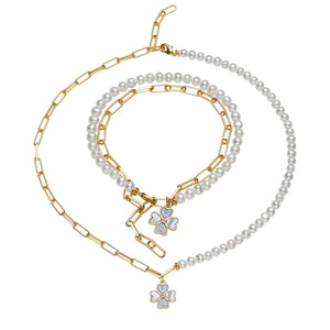 Lucky Clover Leaf 2-in-1 Pearl Necklace or Bracelet (one piece)
