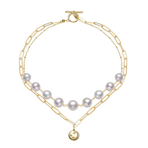 Contemporary Double Layers Pearl Necklace