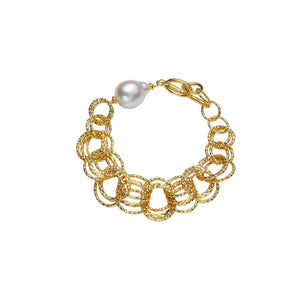 Contemporary Golden Loop Pearl Bracelet