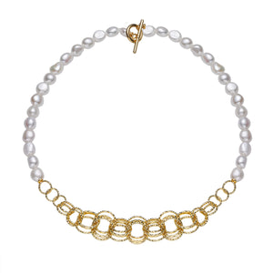 Contemporary Golden Loop Pearl Necklace