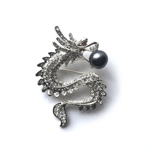 Powerful Dragon Edison Pearl Brooch