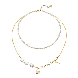 Lock & Key Pearl Necklace