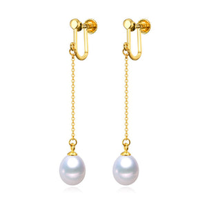 Gold Chain and Pearl Drop Earrings