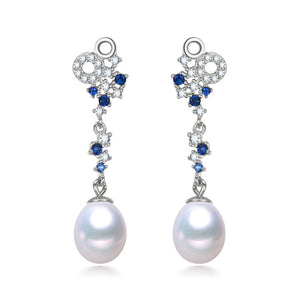Snowfall Crystal & Pearl Drop Earrings