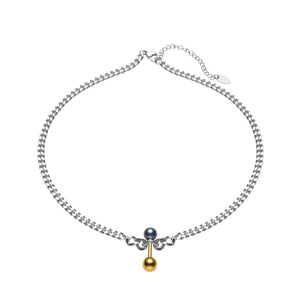 Strong & Cool Bold Chain Barbell Balance Pearl Necklace