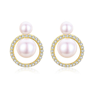 Infinity Pearl Studs Earrings