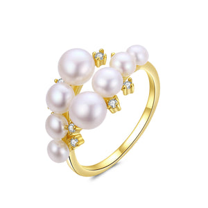 Golden Pearl Clusters Ring