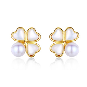 Four Leaf Clover Pearl Earrings