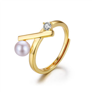 Matchstick Pearl Ring