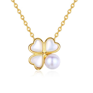 Four Leaf Clover Pearl Necklace