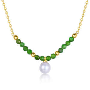 Green Olivine & Pearl Necklace