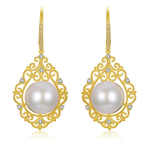 Filigree Edison Pearl Drop Earrings