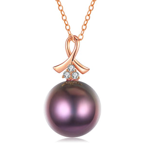 G18k Breast Cancer Ribbon Edison Pearl Pendant