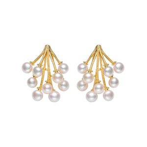 Pearl Amaranth Flower Studs Earrings