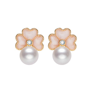 Cherry Blossom Pearl Studs Earrings