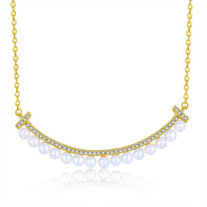 Smile Bar Pearl Necklace