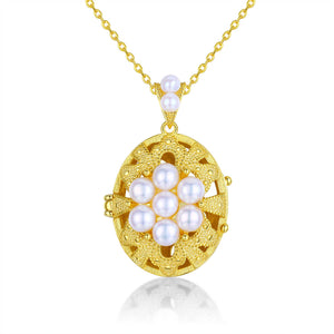 Floral Cameo Locket Pearl Necklace