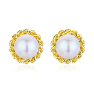 Golden Flower Pearl Studs Earrings