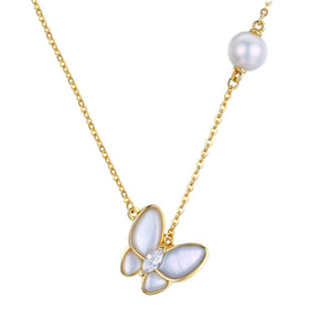 Playful Butterfly Edison Pearl Necklace