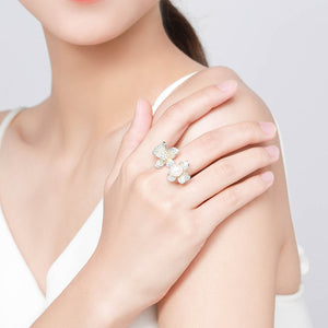 Open Band Flower Pearl Ring