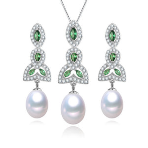 Luck and Charm Pearl Earrings & Necklace Set
