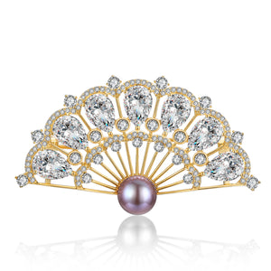 Japanese Fan Edison Pearl Brooch