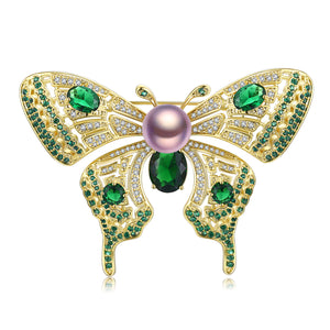 Green Butterfly Edison Pearl Brooch