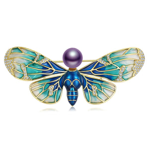 Aquamarine Gradient Butterfly Pearl Brooch