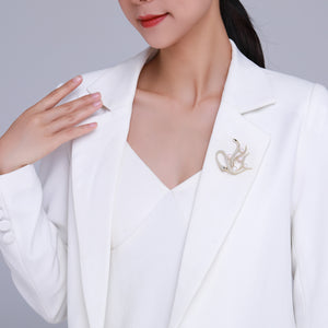 Golden Swan Pearl Brooch