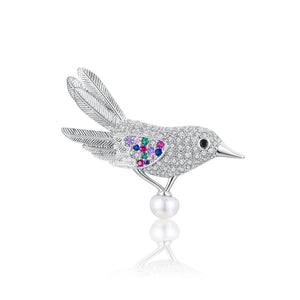 Colorful Bird Pearl Brooch