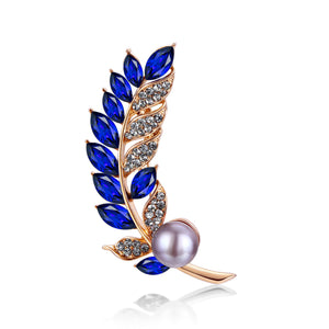 Blue Feather Pearl Brooch