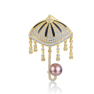 Rainy Day Umbrella Pearl Brooch