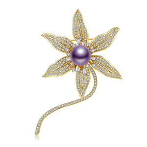 Starflower Edison Pearl Brooch