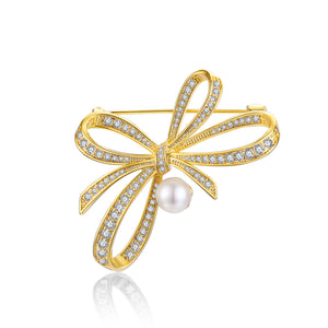 Bow Pearl Brooch