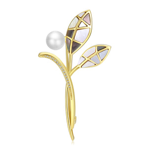 Mosaic Leaves Edison Pearl Brooch
