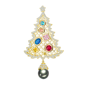 Golden Christmas Tree Tahitian / Edison Pearl Brooch