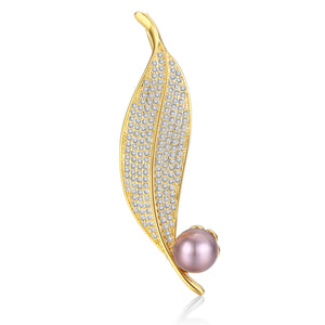 Single Crystal Leaf Pearl Brooch